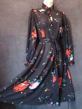 70's Vintage Mary Martin Black Red Floral Confetti Semi Sheer Chiffon Dress