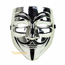 Silver V For Vendetta Face Mask Guy Fawkes Halloween Party Masquerade Anonymous