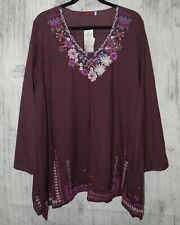 Johnny Was Wish Stitch Tunic Blouse Size 1x Embroidered Boho Floral