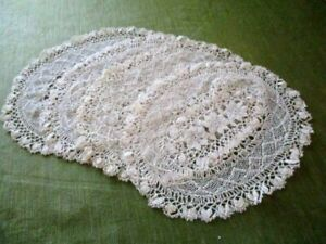 """VINTAGE PLACE MATS - HAND KNOTTED LACE - OVAL - 9.5"""" X 12"""" - SET of  4 - UNUSED"""