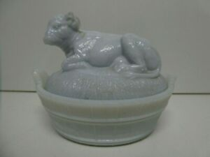 VINTAGE MILK GLASS BOWL LIDDED DISH  PRESSED COW BUTTER DISH TABLE CENTRE PIECE
