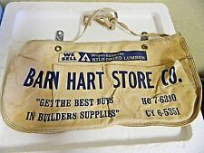 Vintage 2 Pocket Canvas Barn Hart Store Nail Pouch Apron Old Phone Number