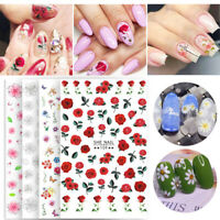 3D Nail Stickers Rose Flowers Series Transfer Decals Nail Art Decoration Tips