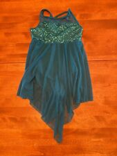 Teal sequined lyrical dance costume (child medium)
