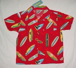 NWT Gymboree Boys SURF CAMP Red Surfer Surfboard Button Down Shirt Size 5 VHTF