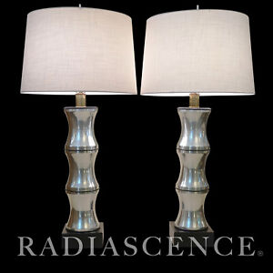 LAUREL MODERN ATOMIC JET AGE SCULPTURE ALUMINUM TABLE LAMP RUSSELL WRIGHT BAMBOO