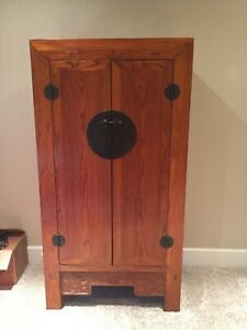 Asian Cabinet Armoire Wardrobe Dresser Quin Style 1970s Wood