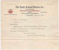 1908 Rock Island Butter Co. Toledo Ohio Illustrated Letterhead