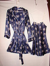 Night Gown and Robe Set Satin & Beaux Navy with Flower ~ Peignoir Set size Large