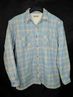 Cabela's L Gray Blue Plaid Flannel Shirt Jacket Fleece Lined Womens Button Front