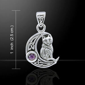 Cat Crescent Moon Amethyst Gem Sterling Silver Pendant by Peter Stone Jewelry