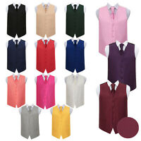 Premium Woven Plain Solid Check Mens Boys Wedding Waistcoat Cravat