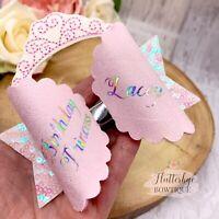 Personalised Birthday Princess Hair bow glitter clip Name headband
