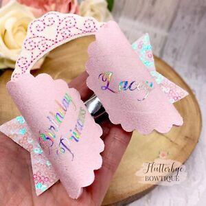 Personalised Birthday Princess Hair bow, Name headband, glitter clip