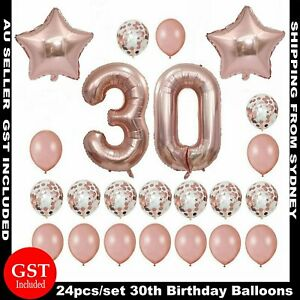 24pcs 30th Thirty Birthday Foil Balloon Rose Gold Confetti Number Star Balloons