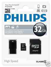 Philips microSDHC-card 32gb, class 4 con SD y adaptador USB fm32mr35b