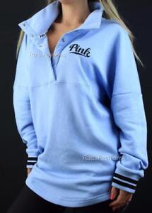 Victoria's Secret PINK Varsity Quarter Snap Mockneck Fleece Logo Sweatshirt