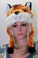 NEW ADULT PLUSH FLEECE ANIMALFARRAH FOX CRITTER CAP HAT SKI CAP FREE SHIPPING