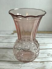 "VINTAGE PINK DEPRESSION Ruffled FLARED 9"" VASE Waffle Rib PINEAPPLE ROSE"