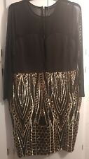 Women's GLAM Long Sleeve Mesh Gold Sequin Dress, Black & Gold, Plus Size 2X