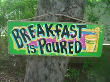 BREAKFAST IS POURED - TIKI HUT TROPICAL BAR PARROTHEAD POOL PATIO SIGN PLAQUE