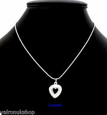 """SILVER PLATED OPEN HEART PENDANT ON 18"""" SILVER PLATED SNAKECHAIN"""