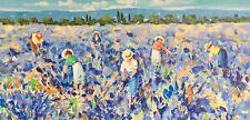 COSTABILE CIARDI 70x140 serigrafia su tela paesaggio contadine raccolta lavanda