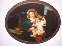 Quadro capezzale Madonna uva  barocco dipinto olio medaglione cornice oro 40x50