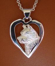 Sterling Silver Norwich Terrier Head Study On A Heart Frame Pendant