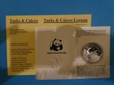 Turks & Caicos, 1 Crown, WWF -  Leguan, 1988, Silber, original