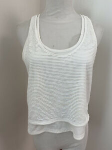 Lululemon Racerback Double Tank White Striped Crop Workout Top 2 In One 4/S RARE