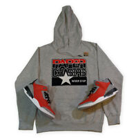 """Hoodie to Match Air Jordan 3 """"Red Cement"""", Heather Grey, All Star Paper Chasers"""