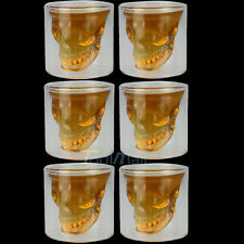 6 x Crystal Glass Vodka Whiskey Skull Head Shot Cup Drinking Ware Home Bar beer