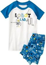 NEW Gymboree Baby Toddler Boys 12-18 mos Robot 2-Piece Shorts Gymmies Pajamas