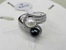 NEW Vantel Pearls Sterling Silver Fifth Avenue Ring R3391 Sz 6 7mm Black & White