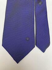 Gianni Versace 100% silk iridescent blue & silver striped tie