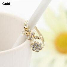 Fashion Women Alloy Twisted Leaves Wishful Flower Opening Rings Wedding Jewelry