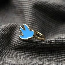 Woman Ring Enamel Bird Delicate Swallow Blue Original Evening Marriage Gift Z2