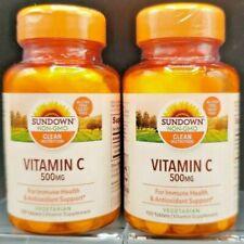 2 x Sundown Vitamin C 500 Mg Ascorbic Acid Tablets 100 ct Supports Immune Health