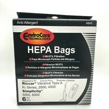 6 Bags RICCAR-HEPA Type A for Simplicity  Vibrance VIBCL2000 Part A845