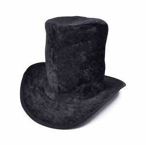Black Velvet Top Hat Willy Wonka Mad Hatter Book Day Fancy Dress Accessory