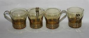 VTG 8 Pc Libbey Continental Gold Greek Key Amber Glass Brass Holder Cups EXC