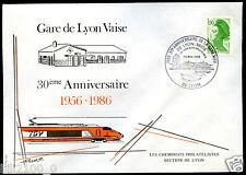 philatélie. gare de lyon Vaise .train. TGV . enveloppe . 30é anniversaire . 1986