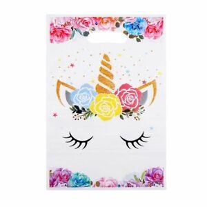 Kids Unicorn Gift Bag Wedding Baby Shower Plastic Candy Bag Birthday Decor 10pcs