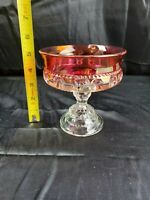 VINTAGE KING'S CROWN RUBY RED THUMBPRINT CANDY DISH COMPOTE PEDESTAL EUC
