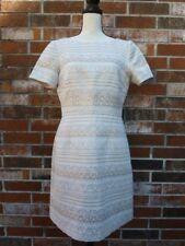 WOMENS VINCE CAMUTO CREAM GOLD JACQUARD A-LINE SHORT SLEEVE SHEATH DRESS 10