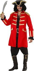 Red Captain Hook Pirate Coat & Hat Men's Fancy Dress Costume S-XXL