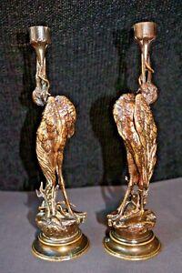 Striking Pair Bronze Egret Crane Candlestick Holder Sculpture SIGNED J. MOIGNIEZ