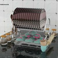"""20.5"""" Stainless Steel 2 Tier Dish Cup Drying Rack Draining Tray Utensil Holder"""