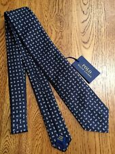 POLO RALPH LAUREN HANDMADE 100% SILK NAVY BLUE MACCLESFIELD TIE  MADE IN ITALY